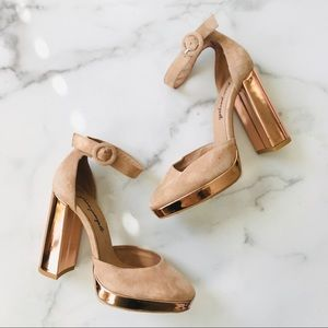 NEW Free People shiny rose platform heels